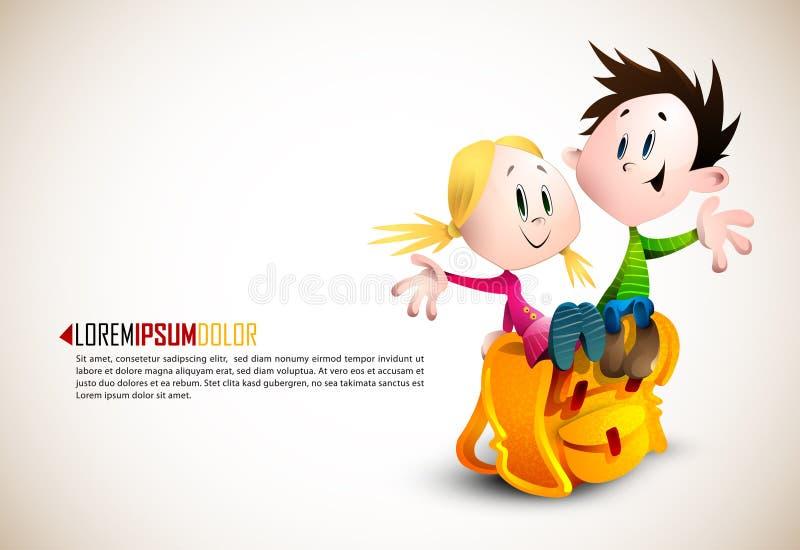 Il ragazzo sveglio e la ragazza che si siedono sul banco Backpack illustrazione di stock