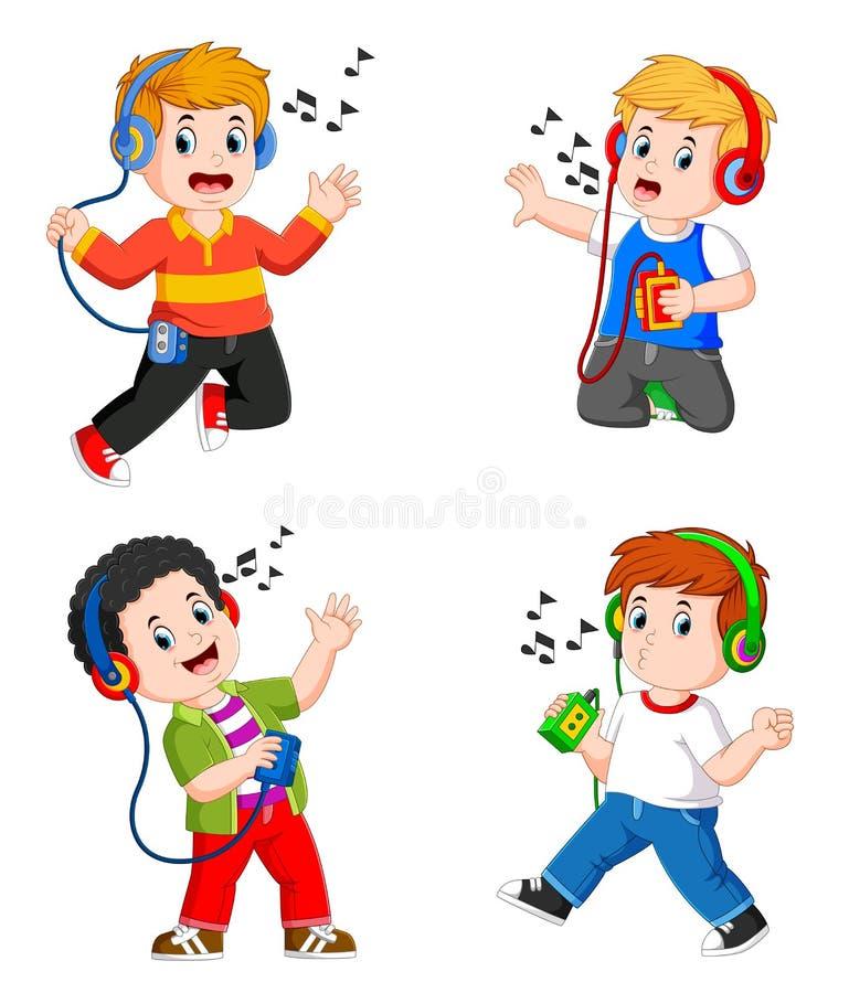 Il ragazzo teenager della raccolta in grandi cuffie che ascolta la musica royalty illustrazione gratis
