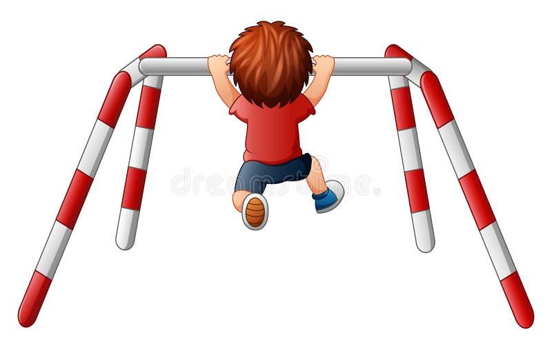 Il ragazzo tira sull'esercizio sulla barra trasversale illustrazione vettoriale