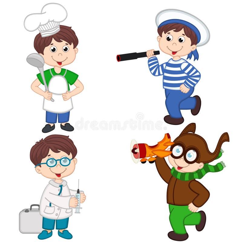 Il ragazzo in varie professioni cucina, marinaio, medico, pilota royalty illustrazione gratis