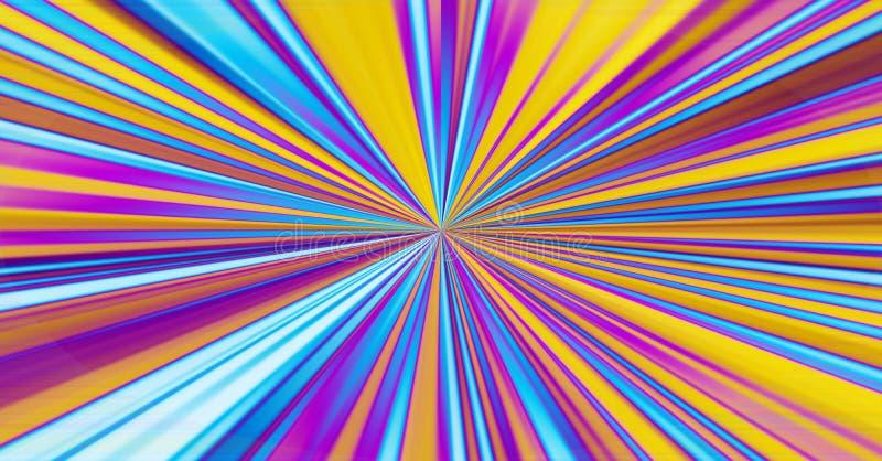 Il raggio astratto a strisce variopinto del fondo della sfuocatura ha scoppiato lo stri grafico illustrazione di stock