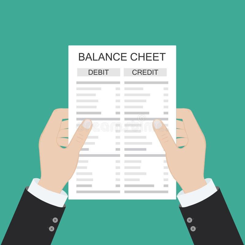 Il ragioniere con il rapporto e un calcolatore controlla l'equilibrio dei soldi Rapporti finanziari dichiarazione e documenti Con illustrazione vettoriale