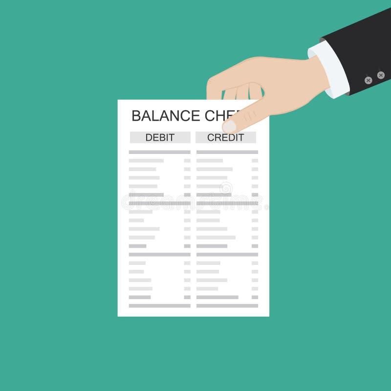 Il ragioniere con il rapporto e un calcolatore controlla l'equilibrio dei soldi Rapporti finanziari dichiarazione e documenti Con royalty illustrazione gratis