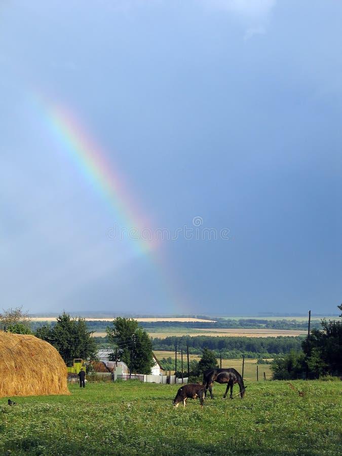 Il Rainbow nella libertà del villaggio. immagini stock libere da diritti