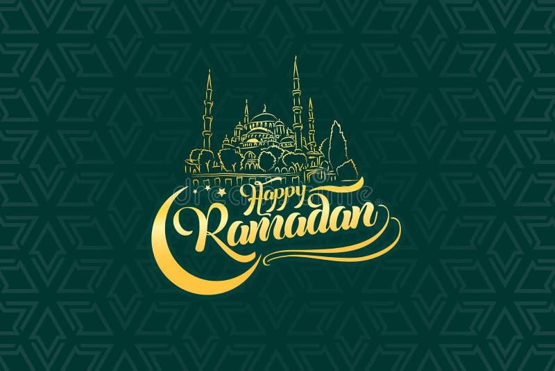 Il Ramadan felice che segna la cartolina d'auguri con lettere su fondo semplice orientale orientale royalty illustrazione gratis