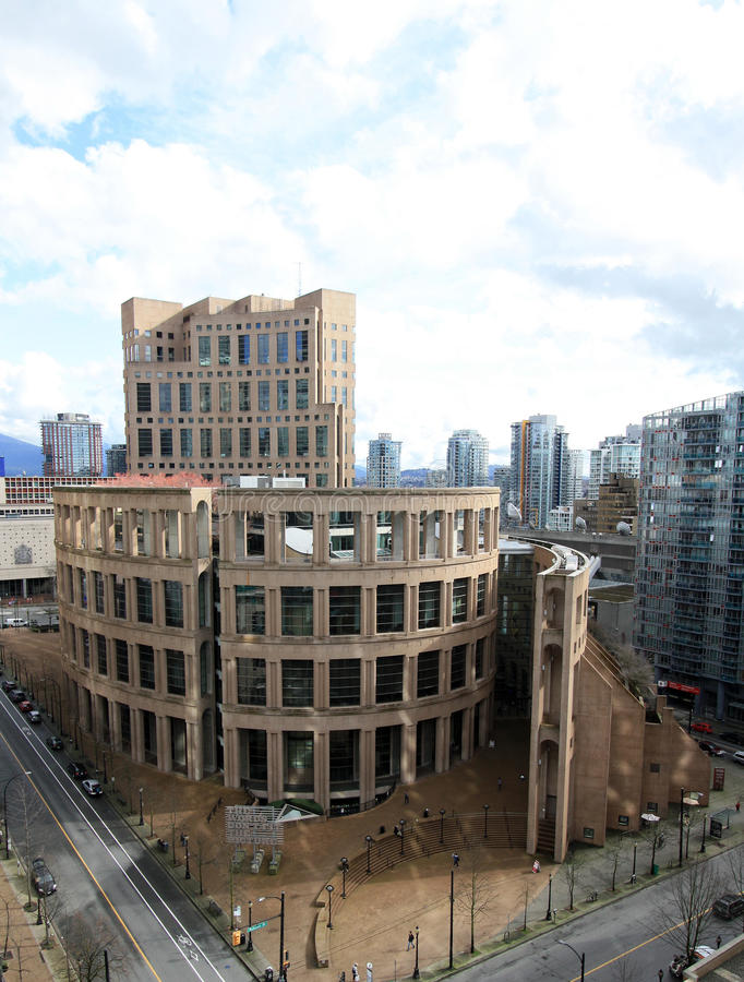 Il ramo centrale della biblioteca pubblica di Vancouver a Vancouver del centro fotografia stock libera da diritti