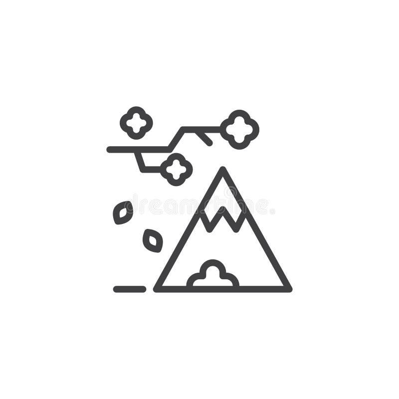 Il ramo di albero con le foglie cadenti e la montagna descrivono l'icona illustrazione vettoriale
