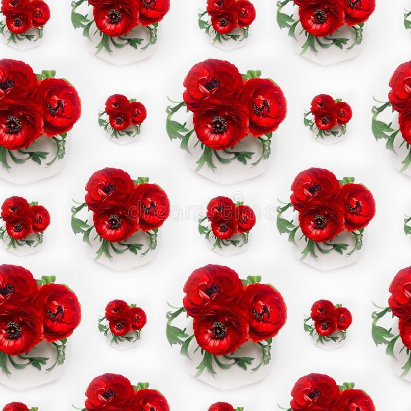 Il ranuncolo di rosso ricco fiorisce il mazzo in vaso bianco come modello senza cuciture Fondo di estate di eleganza royalty illustrazione gratis