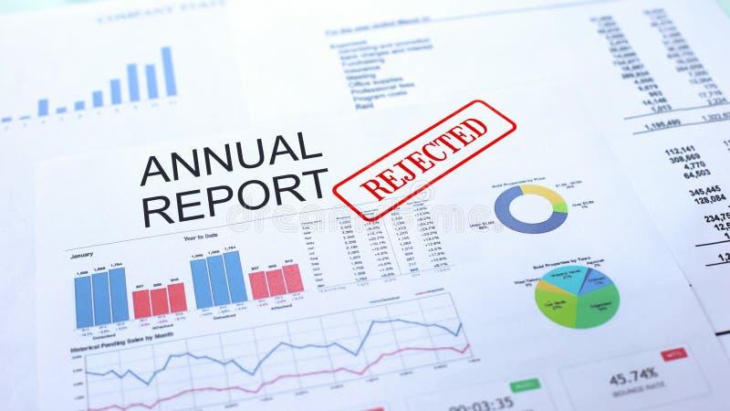 Il rapporto annuale ha rifiutato, guarnizione ha timbrato sul documento ufficiale, il progetto di affari immagine stock libera da diritti