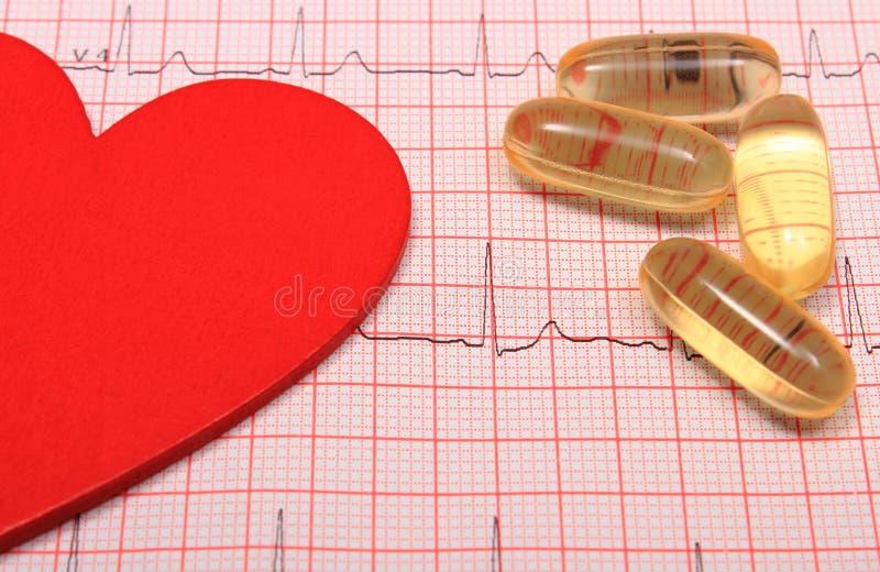 Il rapporto, le compresse ed il cuore del grafico dell'elettrocardiogramma modellano immagini stock