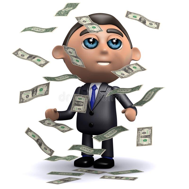 il rappresentante 3d ottiene un bene inaspettato delle fatture di dollaro americano illustrazione di stock