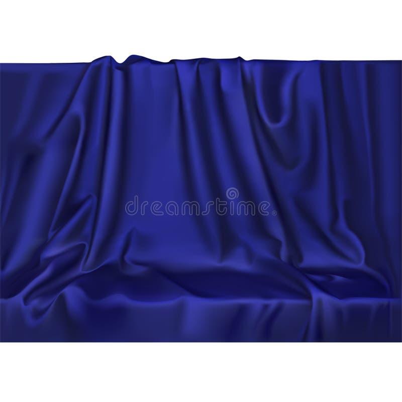 Il raso di seta blu realistico di lusso di vettore copre il fondo del tessuto Materiale regolare brillante del tessuto elegante illustrazione vettoriale