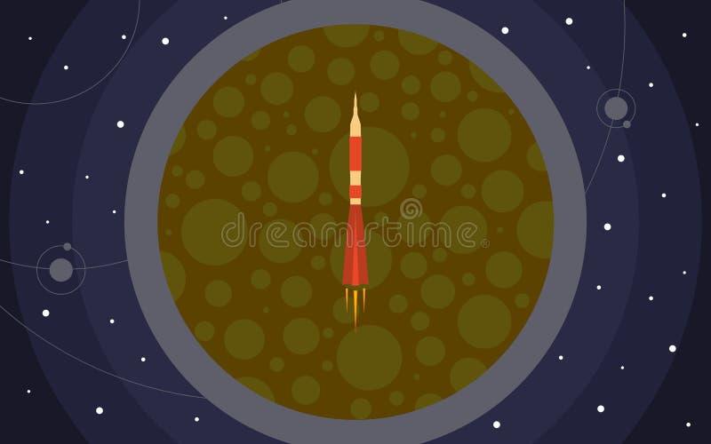 Il razzo nello spazio contro il contesto del pianeta Viaggio nello spazio illustrazione vettoriale