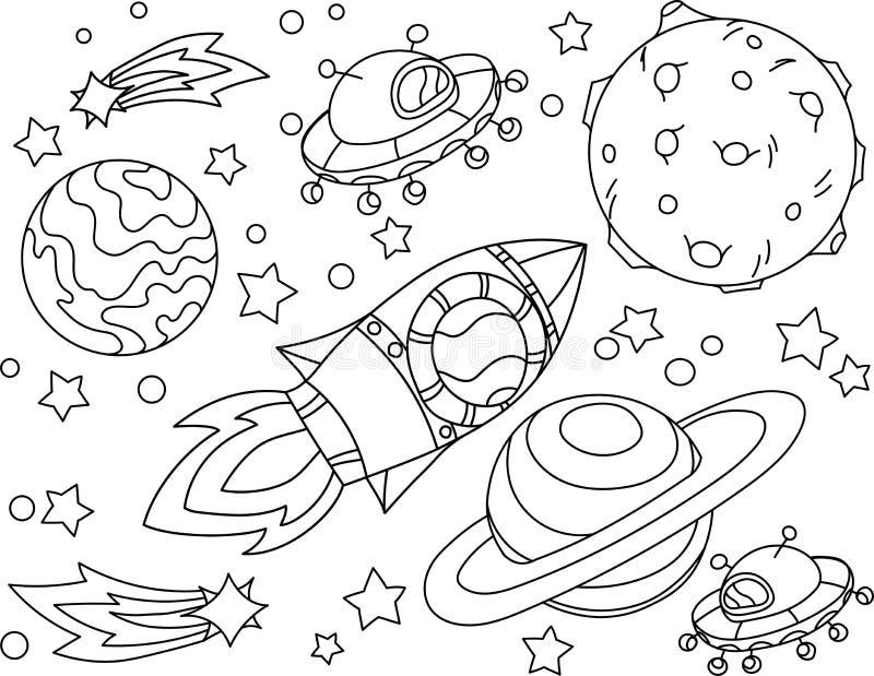 Il razzo vola al libro da colorare della luna Illustrazione Antistress di Vetor del pianeta, della terra e della luna nello stile illustrazione vettoriale