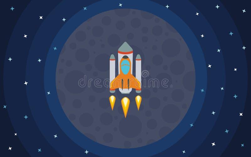 Il razzo vola contro il contesto del pianeta Il razzo nello spazio royalty illustrazione gratis