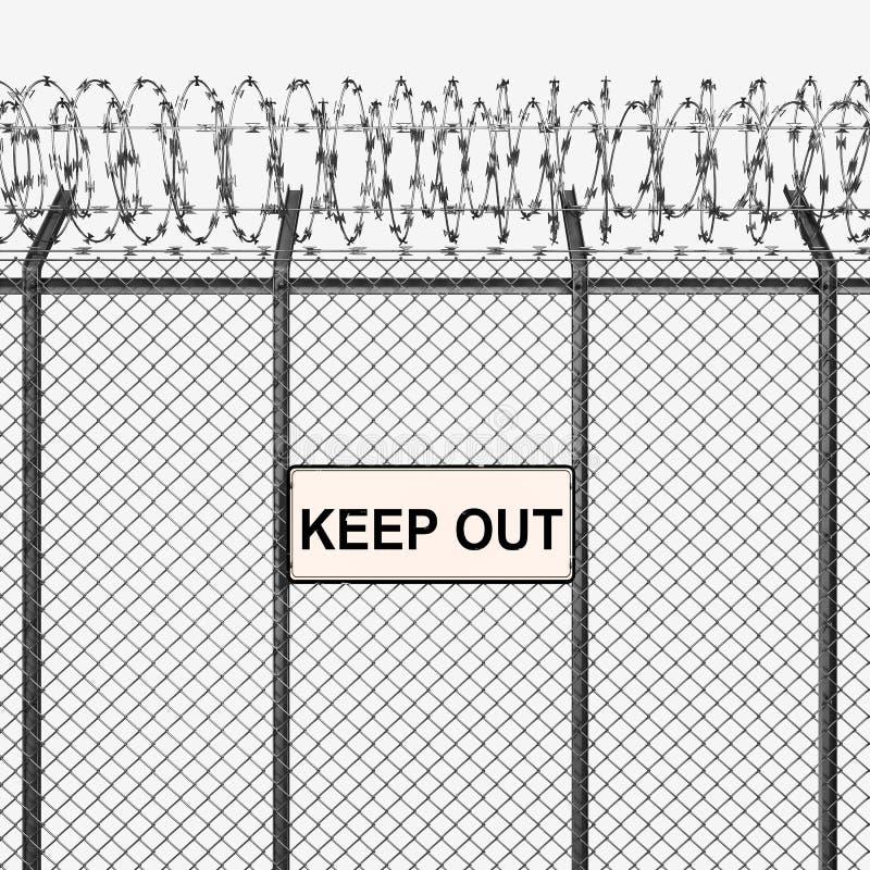 Il recinto d'argento o d'acciaio con filo spinato ed impedisce di entrare il segno immagine stock libera da diritti