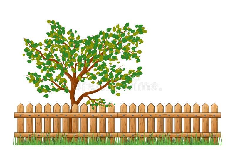 Il recinto di legno con erba e l'albero ha isolato il DES dell'icona di simbolo di vettore illustrazione vettoriale