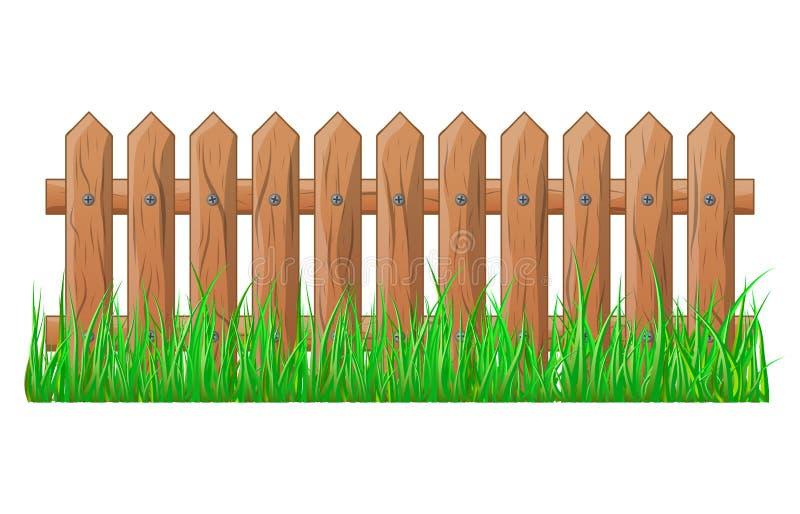 Il recinto di legno con erba ha isolato la progettazione dell'icona di simbolo di vettore illustrazione vettoriale