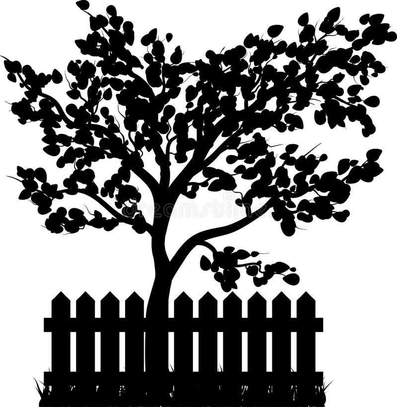 Il recinto di legno con la siluetta dell'albero e dell'erba ha isolato lo symb di vettore illustrazione vettoriale