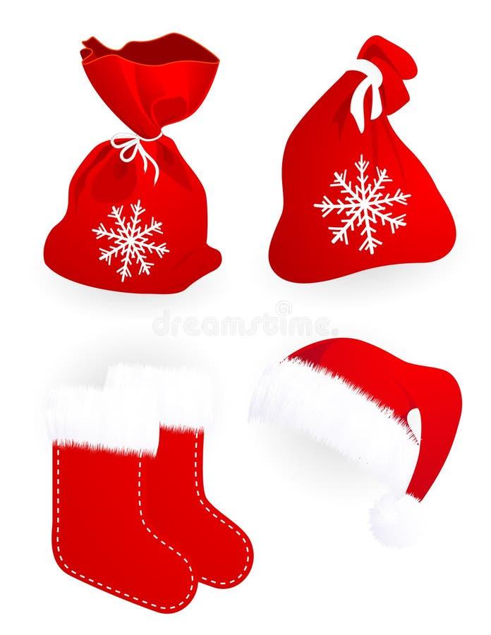 Il regalo del Babbo Natale insacca i calzini ed il cappello illustrazione vettoriale