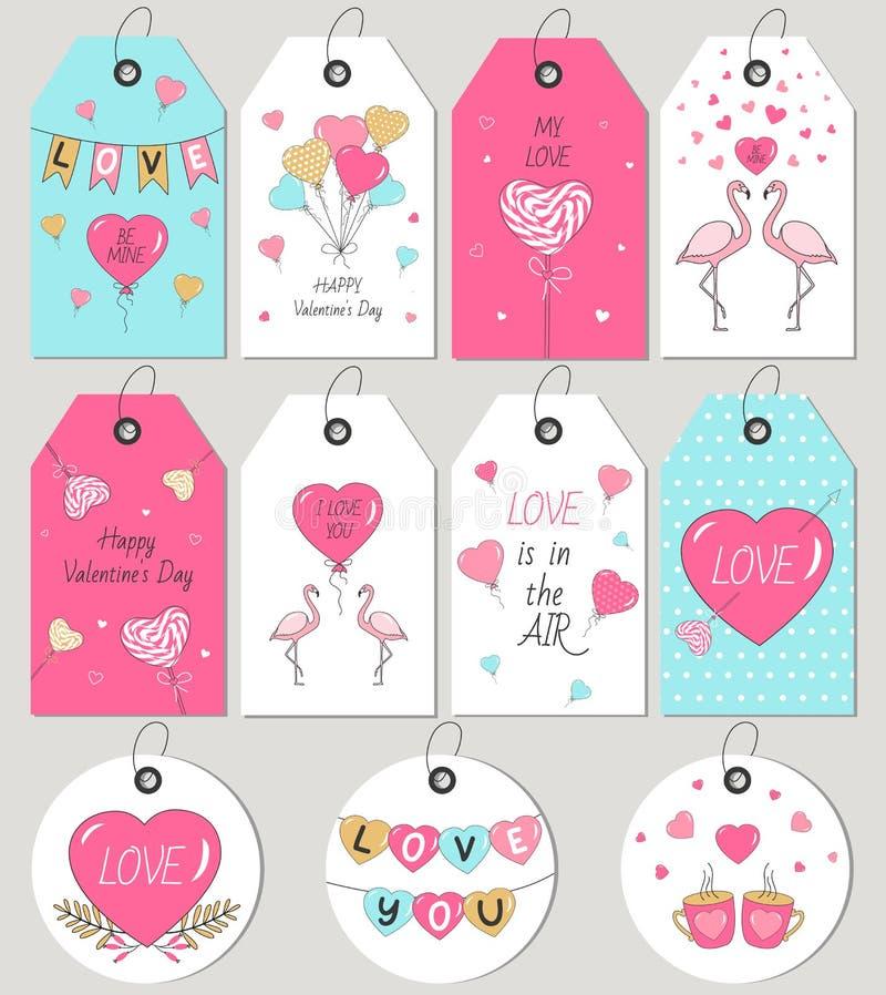 Il regalo del giorno del ` s del biglietto di S. Valentino etichetta e carte Elementi disegnati a mano di disegno illustrazione di stock