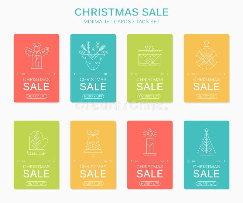 Il regalo di Natale e del nuovo anno etichetta con i simboli di festa illustrazione di stock