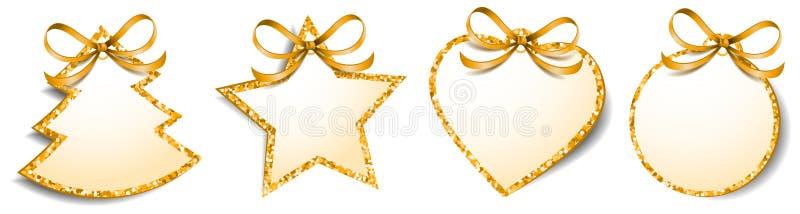 Il regalo di Natale etichetta il vettore isolato spazio in bianco dorato di scintillio delle etichette illustrazione di stock