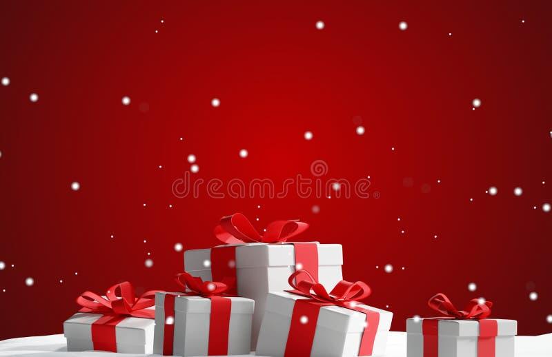 Il regalo di Natale nello spirito della neve hred il backgro festivo di natale illustrazione di stock