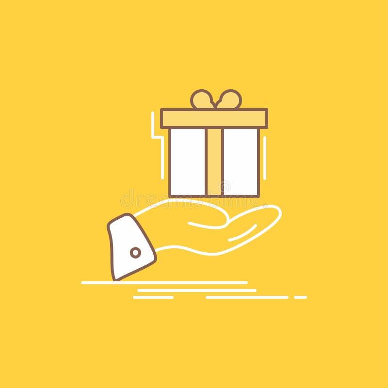 il regalo, sorpresa, soluzione, idea, linea piana di compleanno ha riempito l'icona Bello bottone di logo sopra fondo giallo per  illustrazione vettoriale