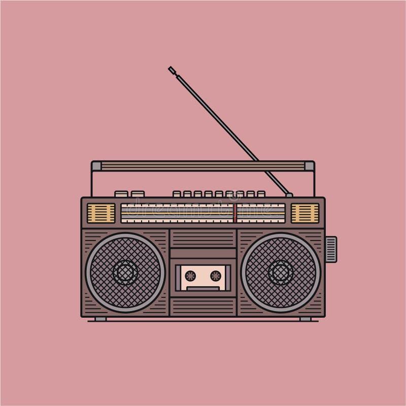 Il registratore di cassetta audio antiquato e retro di stile, la scatola di asta del ghetto da 90s, illustrazione di vettore ha i fotografia stock