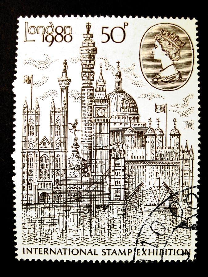 Il Regno Unito, circa 1980: mostra internazionale del bollo immagini stock libere da diritti
