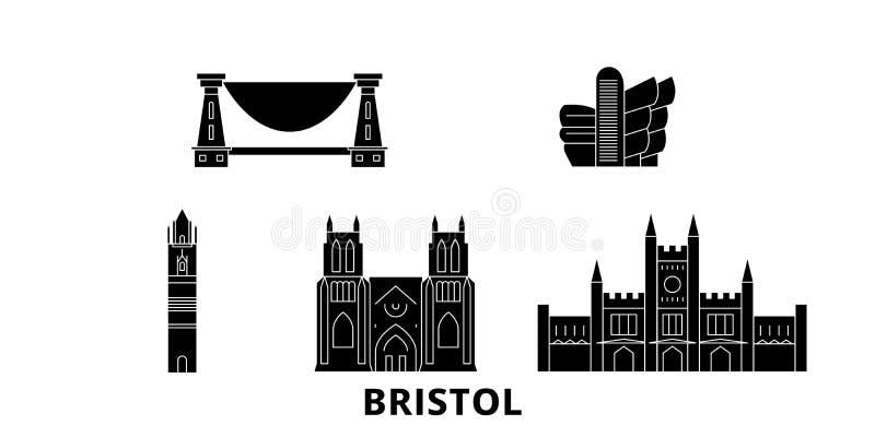 Il Regno Unito, insieme piano dell'orizzonte di viaggio di Bristol Il Regno Unito, illustrazione di vettore della città del nero  illustrazione vettoriale