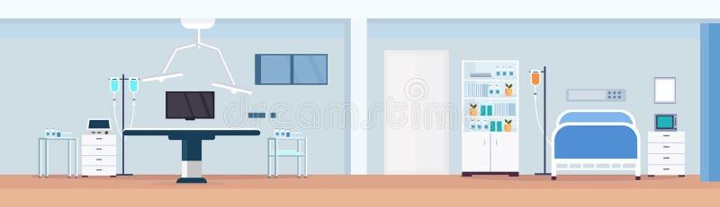 Il reparto paziente di terapia intensiva medica pulita della stanza del tavolo operatorio dell'ospedale con il letto di cure infe royalty illustrazione gratis
