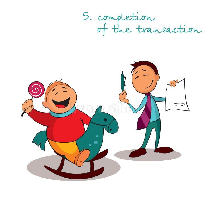 Il responsabile tiene una penna per firmare il contratto con il cliente soddisfatto Regole di riuscite vendite illustrazione vettoriale