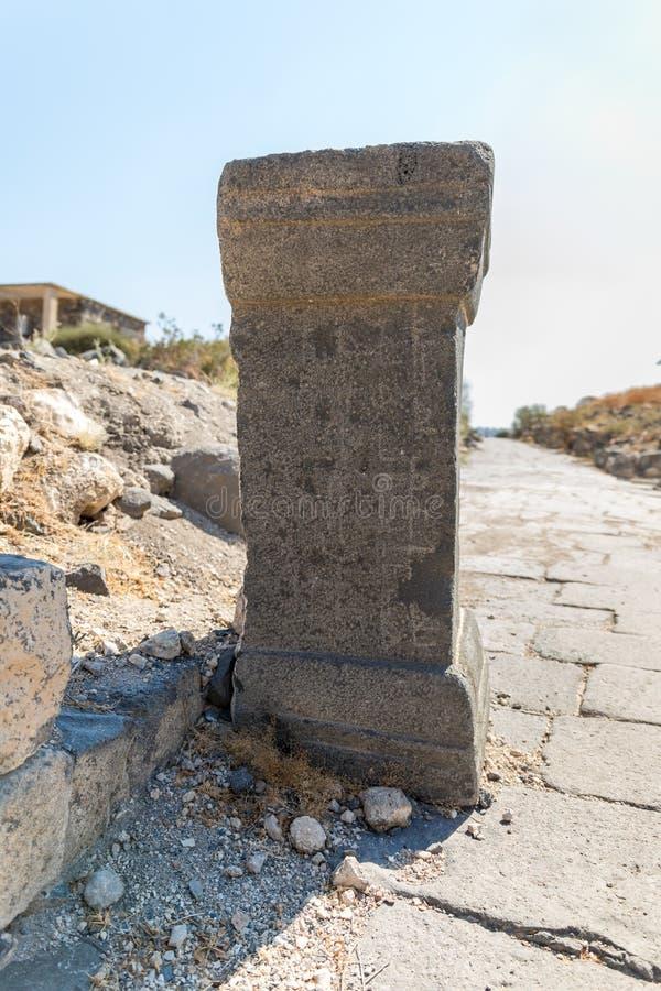 Il resti della colonna nelle rovine del Greco - città romana dello III secolo BC - l'ANNUNCIO del VIII secolo Hippus - Susita sul immagine stock