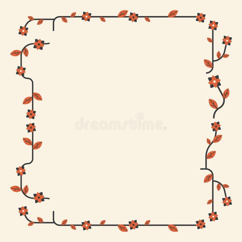 Il reticolo floreale Angoli floreali e geometrici ornamentali nello stile d'annata differente Elemento per l'angolo di progettazi illustrazione di stock