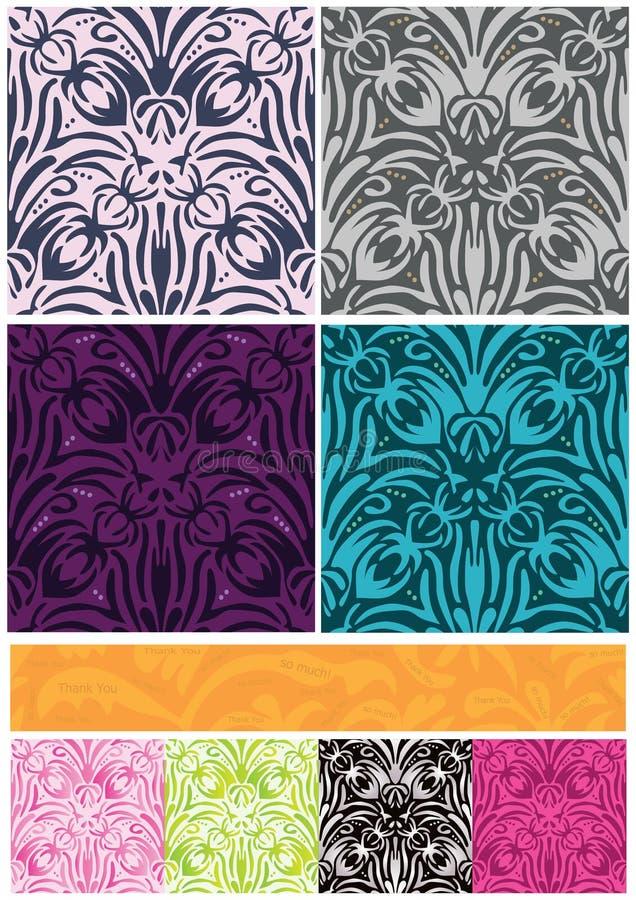 Il reticolo senza giunte dei fiori 8 del damasco lo ringrazia bandiera illustrazione vettoriale