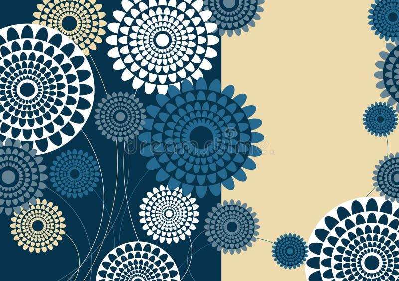Il retro blu fiorisce la cartolina d'auguri illustrazione di stock