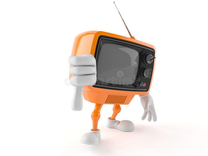 Il retro carattere della TV con il pollice giù gesture illustrazione vettoriale