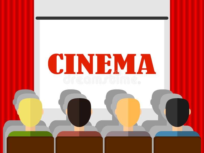 Il retro cinema, la gente guarda un film nel cinema royalty illustrazione gratis