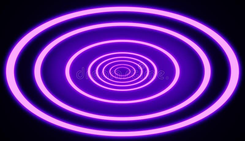 Il retro collegamento al neon di stile accende il modello circolare del tunnel rende royalty illustrazione gratis