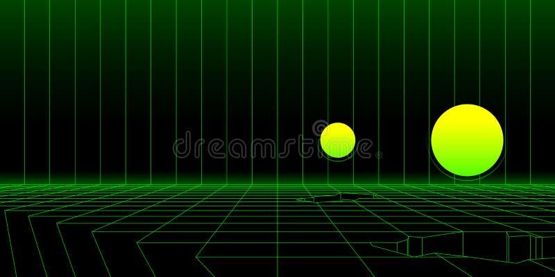Il retro fondo del paesaggio del wireframe di fantascienza con 3D obietta Vettore astratto royalty illustrazione gratis