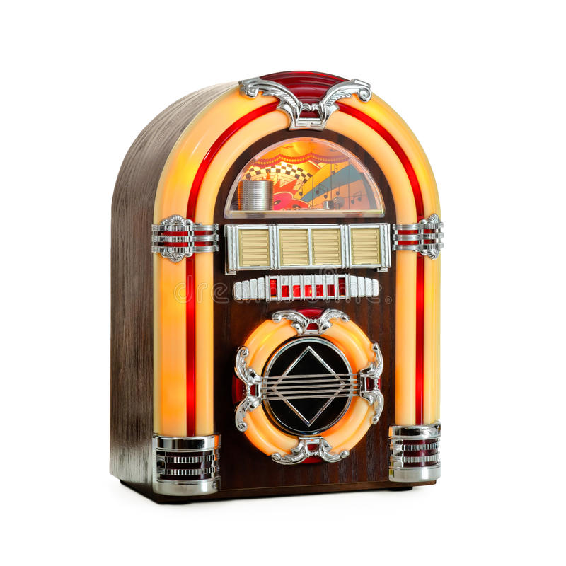 Il retro jukebox ha isolato fotografia stock