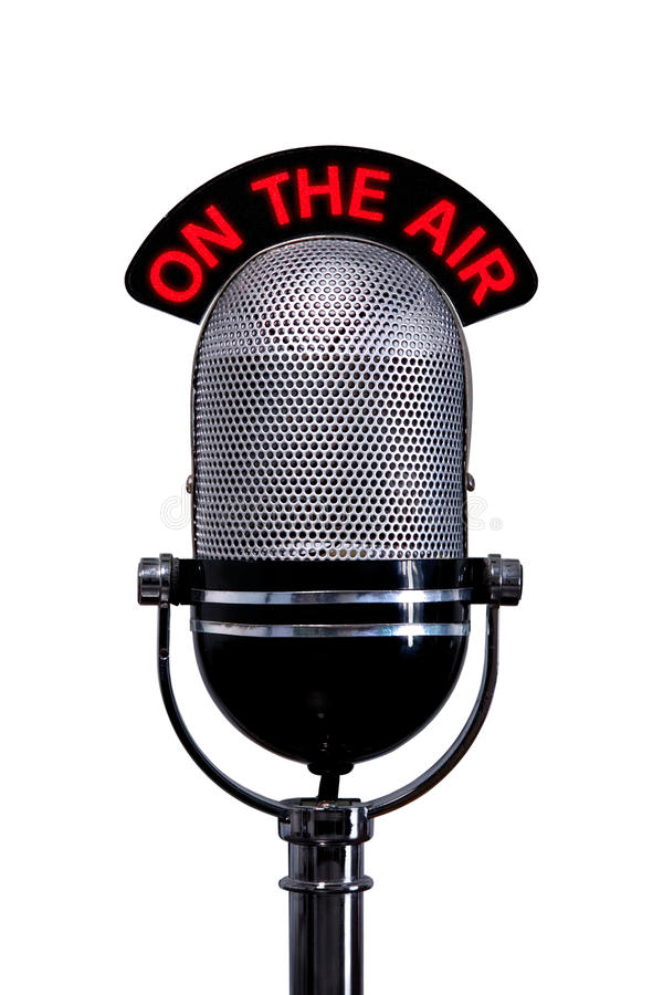 Il retro microfono con sul segno dell'aria ha tagliato fotografie stock libere da diritti