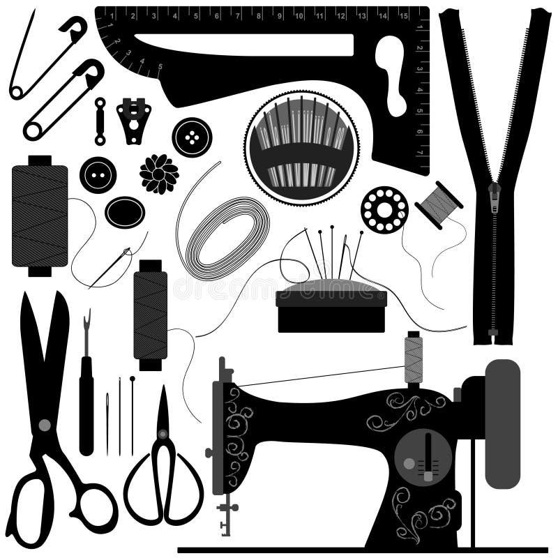 Il retro nero di cucito del sarto illustrazione di stock
