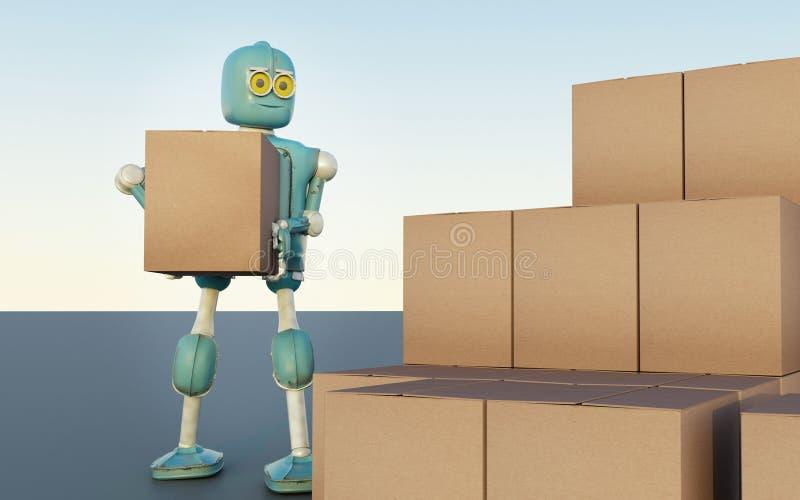 Il retro robot con le scatole di spedizione rende 3d illustrazione vettoriale