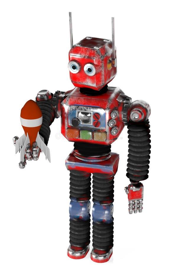 Il retro robot con un razzo, rende, 3d illustrazione di stock