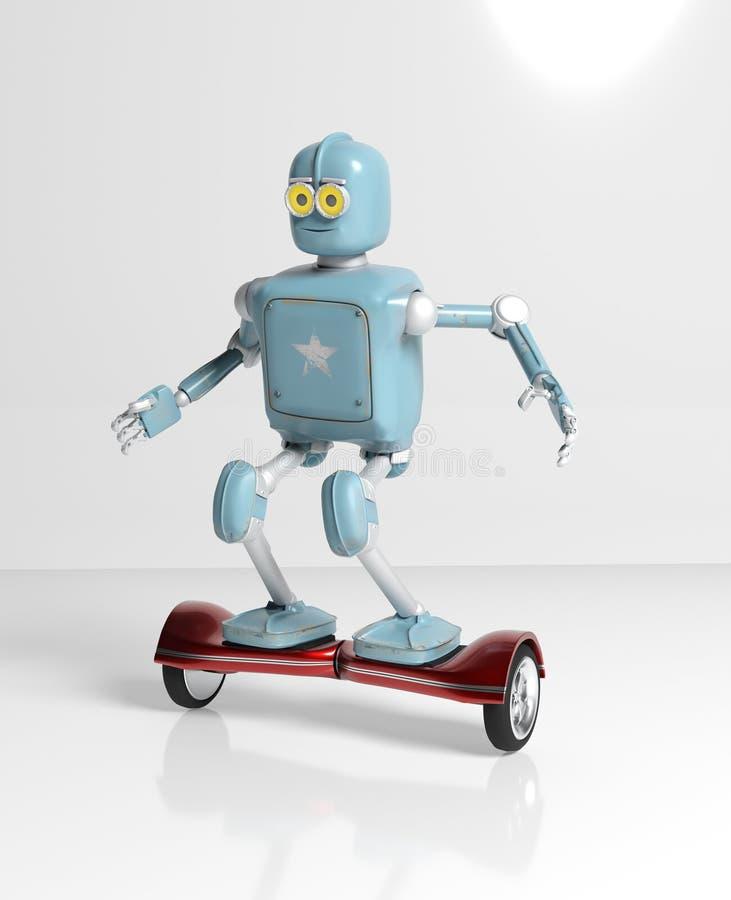 Il retro robot guida su un isolato di hoverboard del giroscopio su 3d bianco illustrazione vettoriale