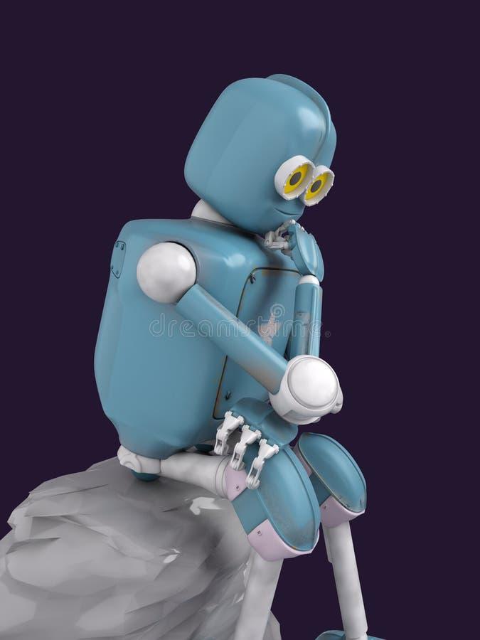 Il retro robot pensa la seduta sulla pietra, l'intelligenza artificiale, ai fotografia stock