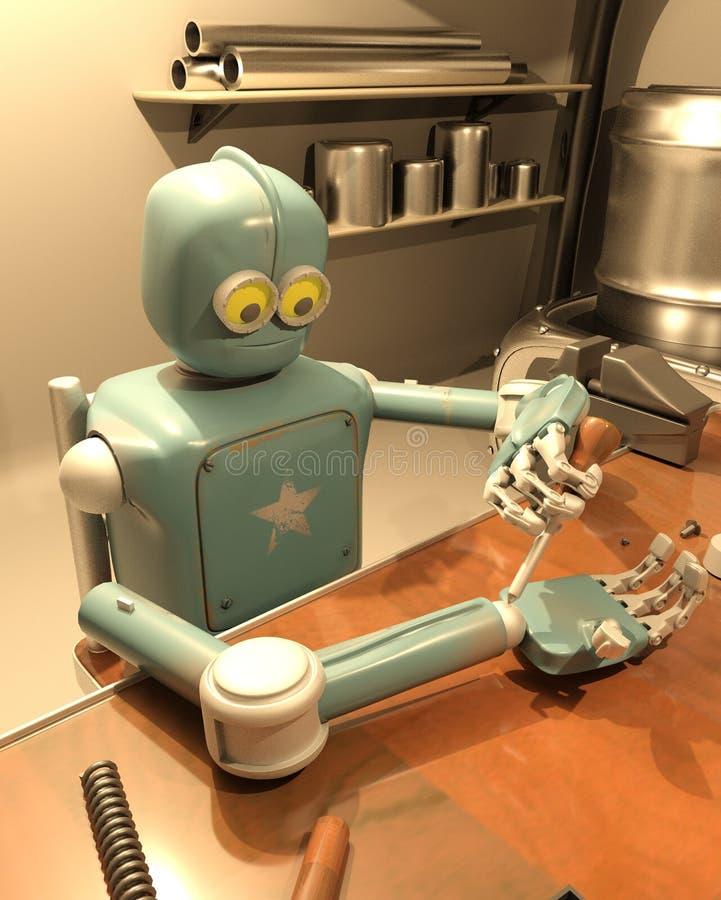 Il retro robot sta riparando la sua mano, la rappresentazione 3d royalty illustrazione gratis